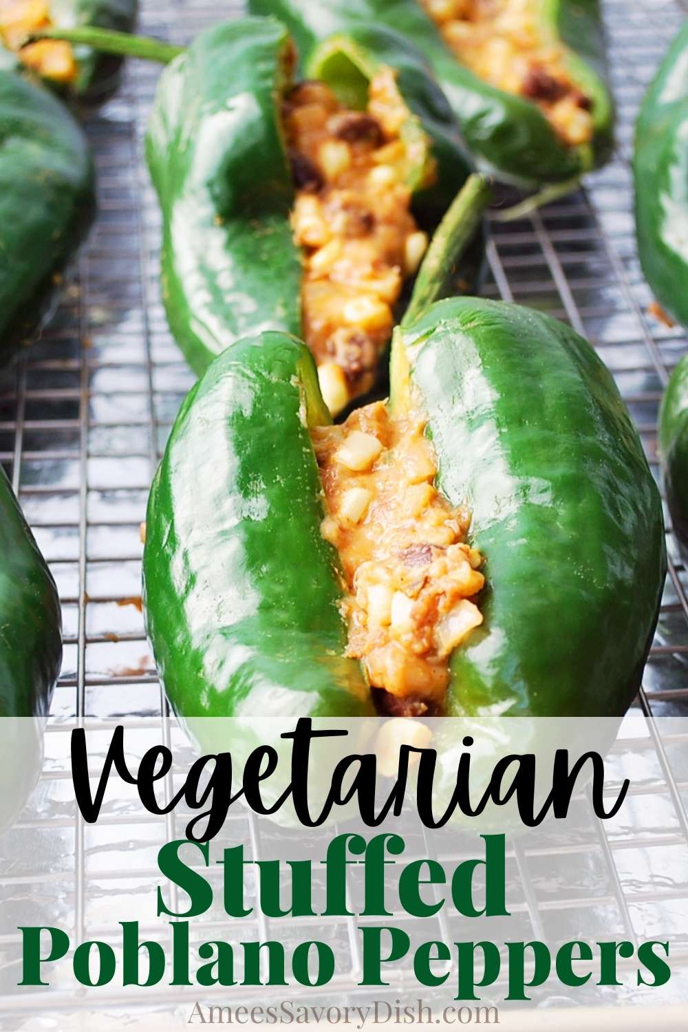 This easy recipe for Vegetarian Stuffed Poblano Peppers is filled with beans, corn, cheddar and packs lots of Mexican flavors. This delicious gluten-free high fiber meal is perfect to make for a weeknight or for a vegetarian Cinco De Mayo celebration! via @Ameessavorydish