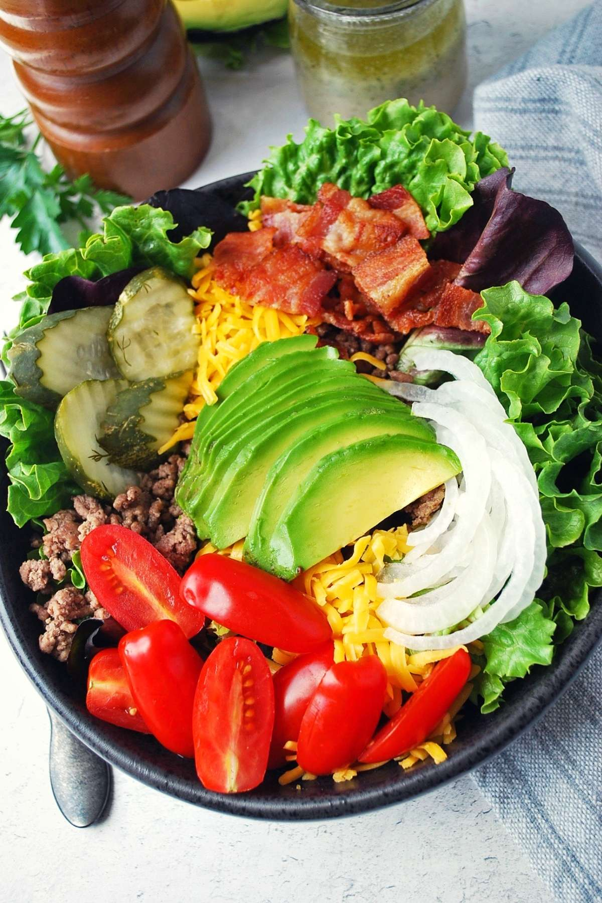 overhead photo of California burger bowl with all the toppings