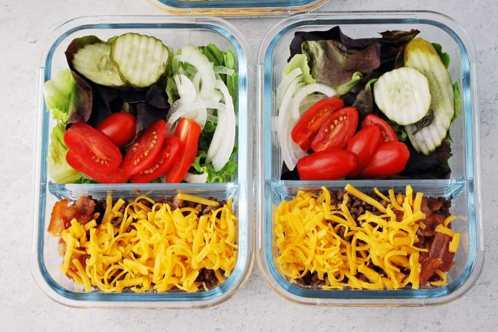 burger bowls in meal prep containers