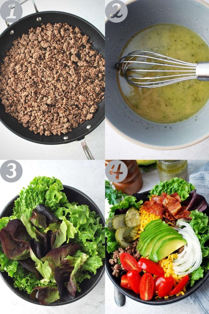 collage photo of steps to make the bowls: cooking the beef, whisking the dressing, lettuce in a bowl, and all of the ingredients in the finished salad