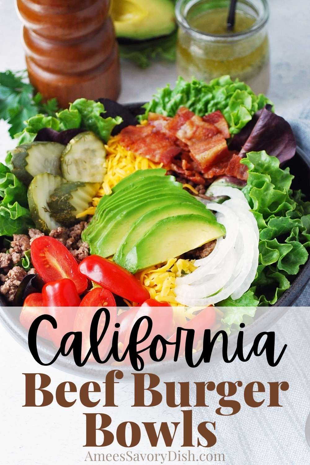 #Sponsored This easy recipe for California Beef Burger Bowls is packed with all the tasty goodness of a California burger in a hearty salad topped with a flavorful ranch vinaigrette dressing. This delicious Beef recipe is on the table in 20 minutes or less! @beeffordinner #NicelyDone #BeefFarmersandRanchers #NationalBeefBurgerDay #BeefBurger via @Ameessavorydish