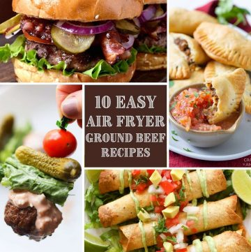 collage of four beef recipes made in the air fryer
