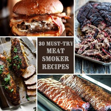 collage of smoked meat recipes including a pulled pork sandwich, shredded pork, pork tenderloin, and ribs