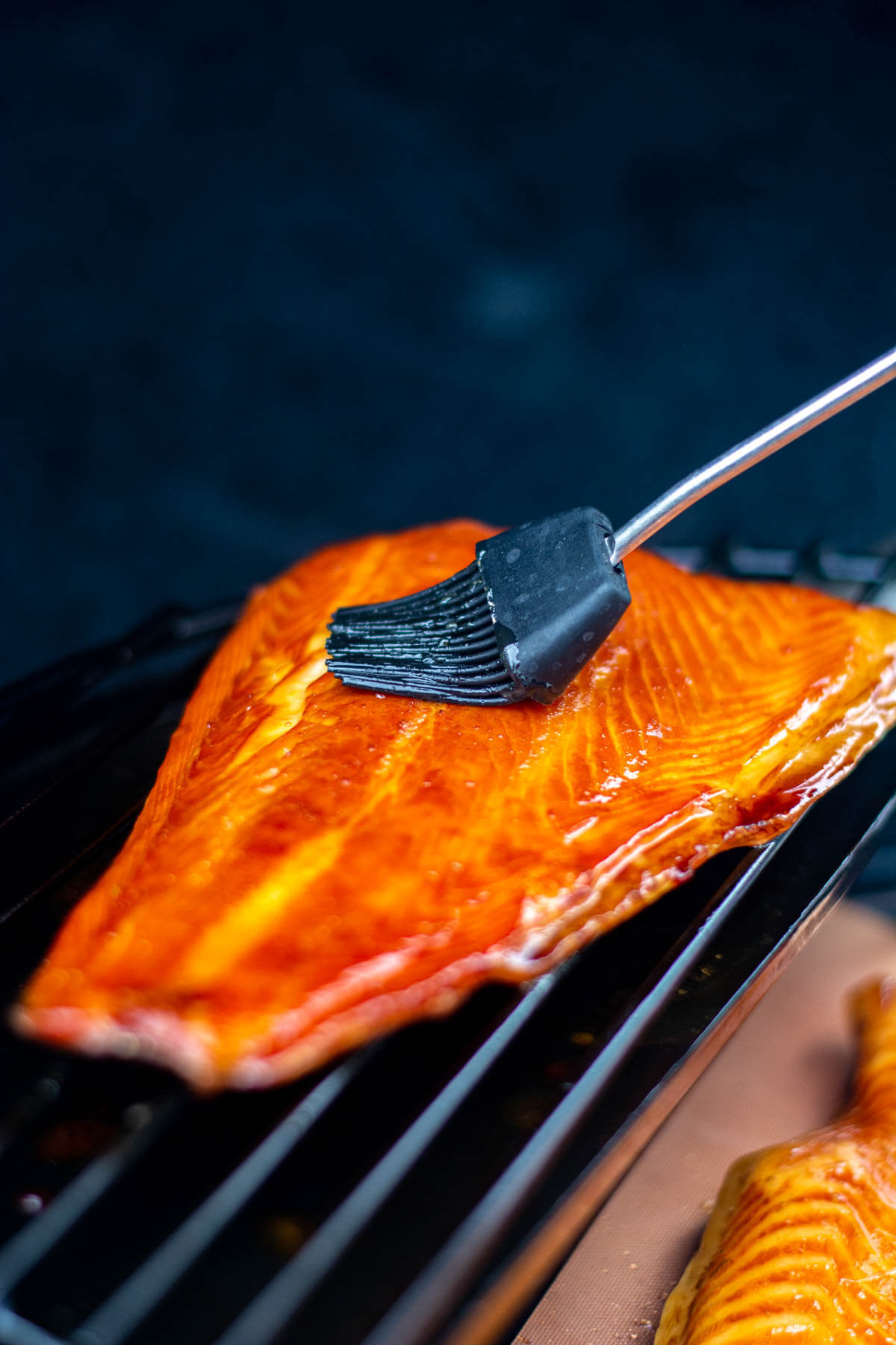 smoked salmon brushed with glaze on a Big Green Egg
