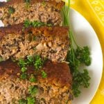 sliced meatloaf on a plate