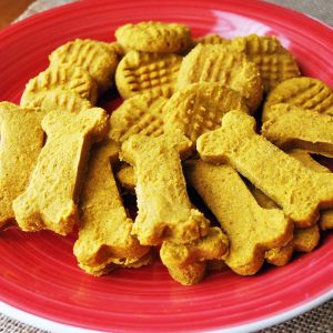 homemade dog biscuits on a red plate