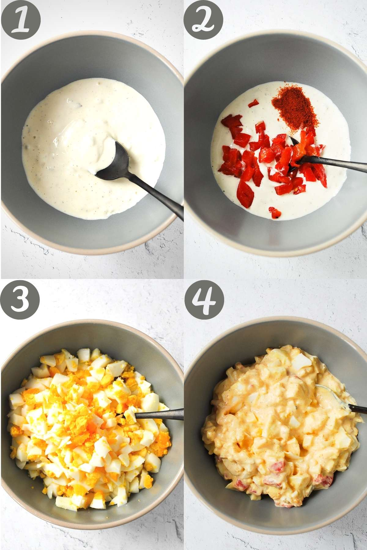 step by step photos of making the egg salad in a bowl