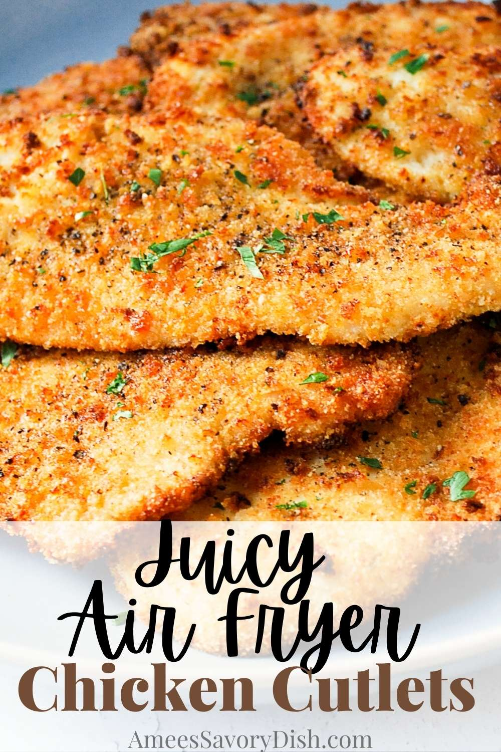 These Air Fryer Chicken Cutlets are brined, breaded, and baked in an air fryer until crisp and juicy in under 20 minutes! Learn how to make these air fryer breaded cutlets to add to salads and sandwiches or serve as the main course. via @Ameessavorydish