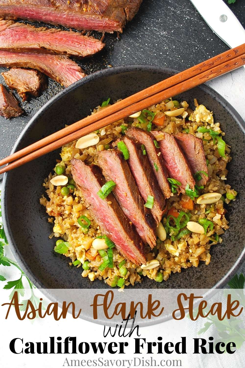 #Ad Grilled Asian Flank Steak with Cauliflower Fried Rice is a flavorful low-carb meal that's ready in under 30 minutes! The perfect qu ick and easy recipe for busy weeknights. @adaptablemeals #AdapTableMeals #AdapTablePartner #easydinners via @Ameessavorydish