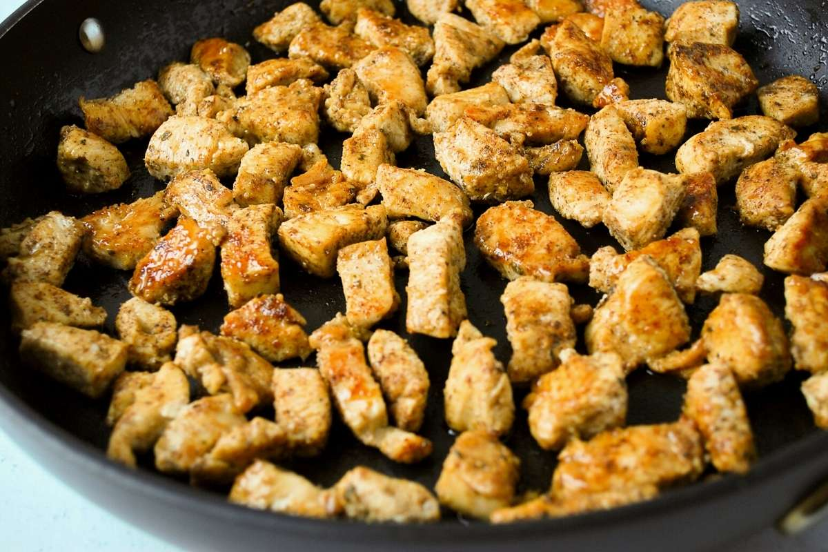 chopped chicken sautéed in a skillet