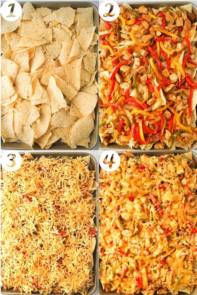 assembly of sheet pan nachos step-by-step on a sheet pan